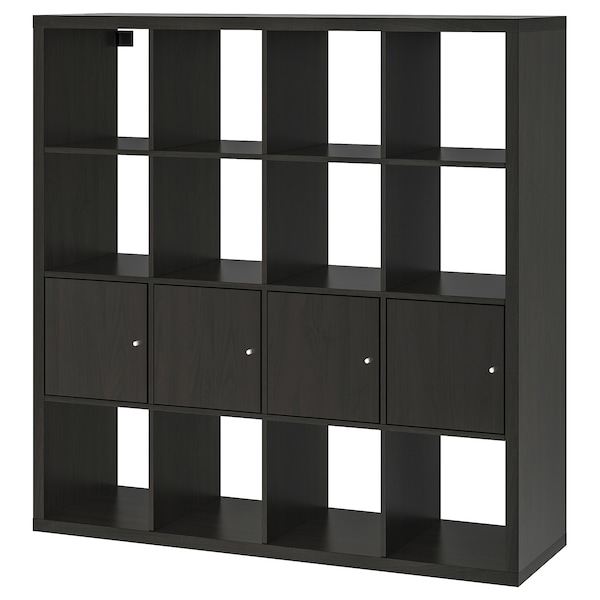 KALLAX Scaffale con 4 accessori, marrone-nero, 147x147 cm
