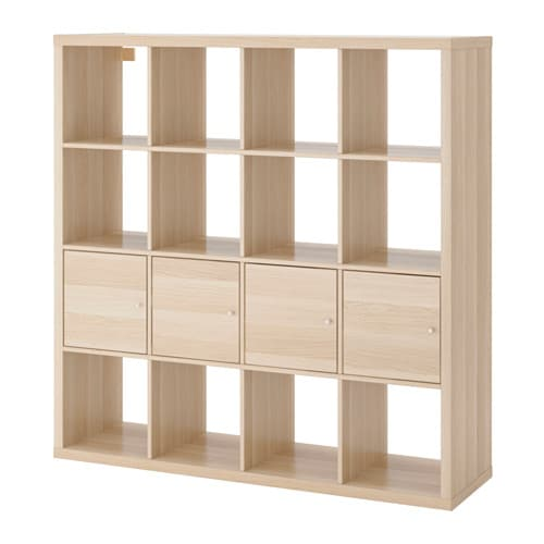 kallax scaffale con 4 accessori effetto rovere mordente bianco ikea. Black Bedroom Furniture Sets. Home Design Ideas
