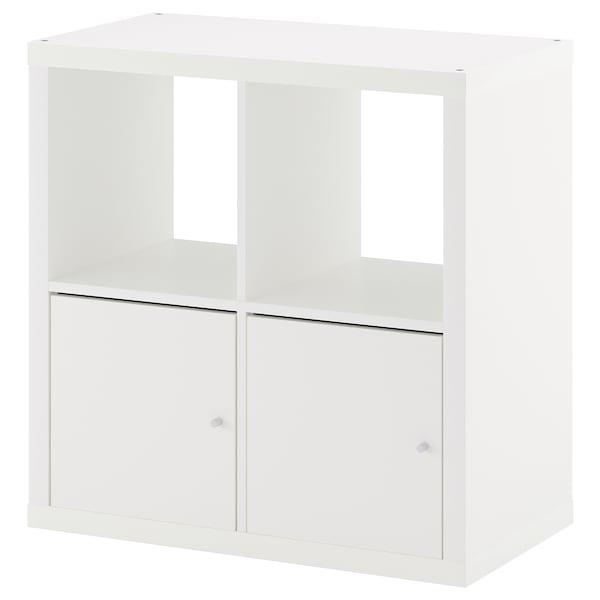 KALLAX Scaffale con ante, bianco, 77x77 cm