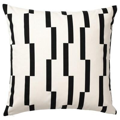 KINNEN Fodera per cuscino, bianco/nero, 50x50 cm