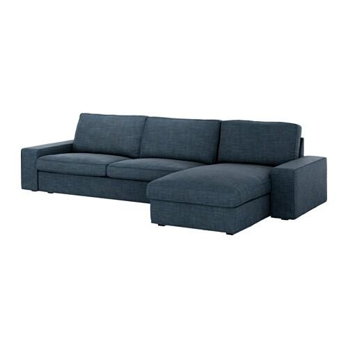 Kivik divano a 3 posti e chaise longue hillared blu scuro ikea - Ikea divano chaise longue ...