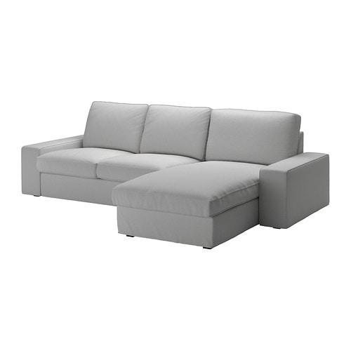 KIVIK Divano a 3 posti - con chaise-longue/Orrsta grigio chiaro - IKEA