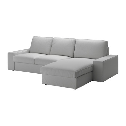 Kivik divano a 3 posti con chaise longue orrsta grigio chiaro ikea - Divano 4 posti con chaise longue ...