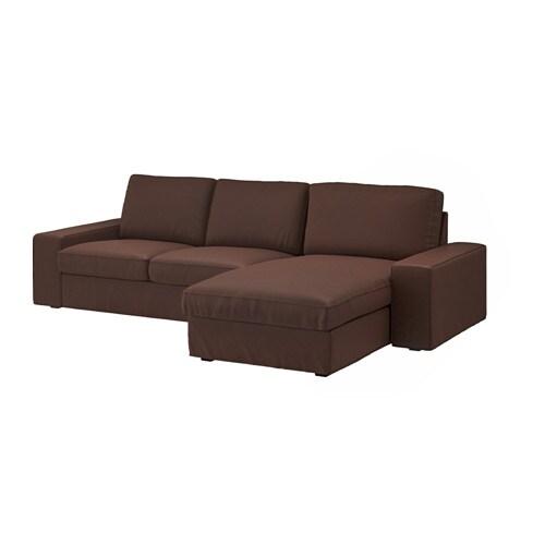 Kivik divano a 3 posti con chaise longue borred marrone for Ikea divano kivik