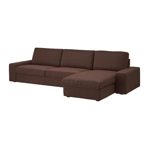 KIVIK Divano a 4 posti - con chaise-longue/Borred marrone scuro - IKEA