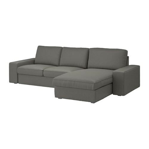 Kivik divano a 3 posti con chaise longue borred grigio verde ikea - Divano chaise longue ikea ...