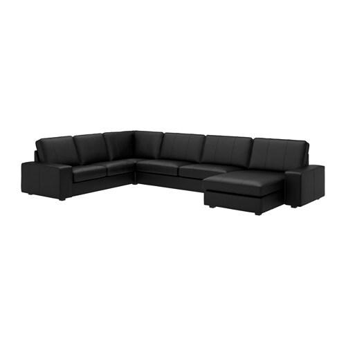 Divano Angolare Ikea Tessuto.Kivik Divano Angolare A 6 Posti Con Chaise Longue Grann Bomstad Grann Bomstad Nero
