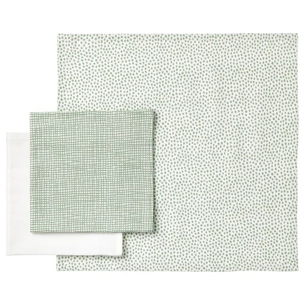 KLÄMMIG Lavetta, verde/bianco, 3 pezzi