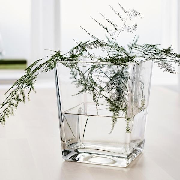KLOTTRIG Vaso, vetro trasparente, 17 cm