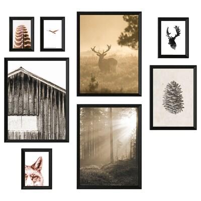 KNOPPÄNG Cornice con immagine, set di 8, Nel bosco