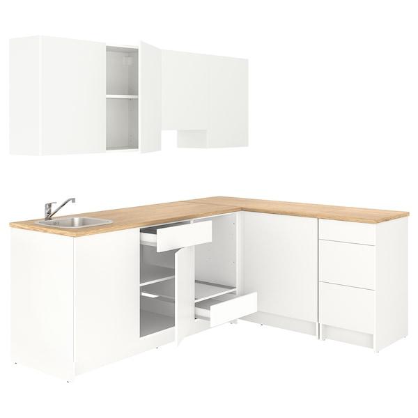KNOXHULT Cucina angolare, bianco, 243x164x220 cm
