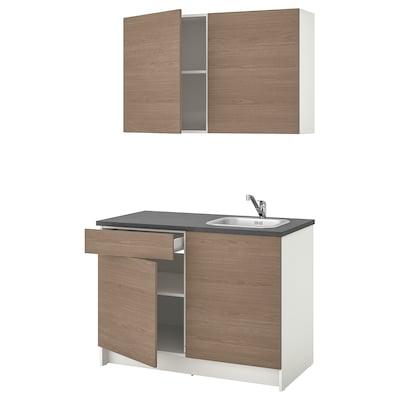 KNOXHULT Cucina, effetto legno grigio, 120x61x220 cm