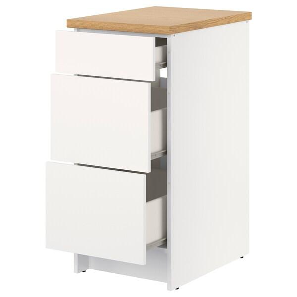 KNOXHULT Mobile base con cassetti, bianco, 40 cm