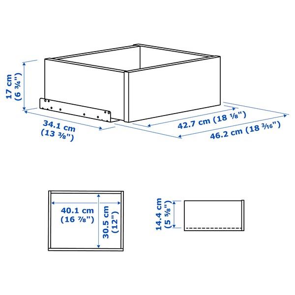 KOMPLEMENT Cassetto/frontale vetro con cornice, marrone-nero, 50x35 cm