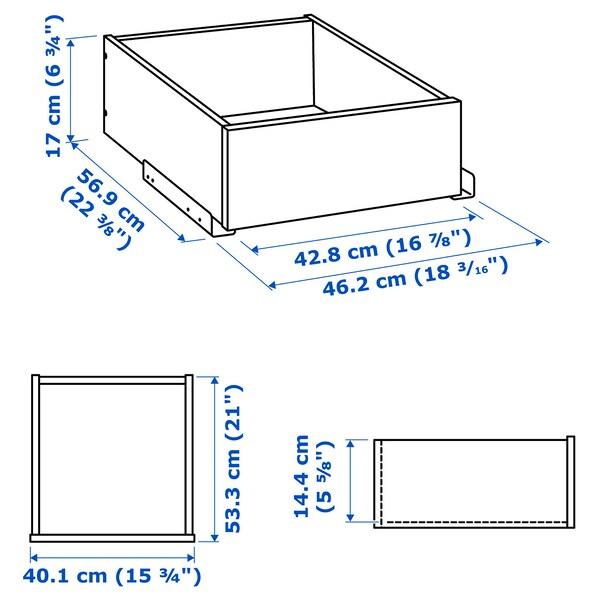 KOMPLEMENT Cassetto/frontale vetro con cornice, marrone-nero, 50x58 cm