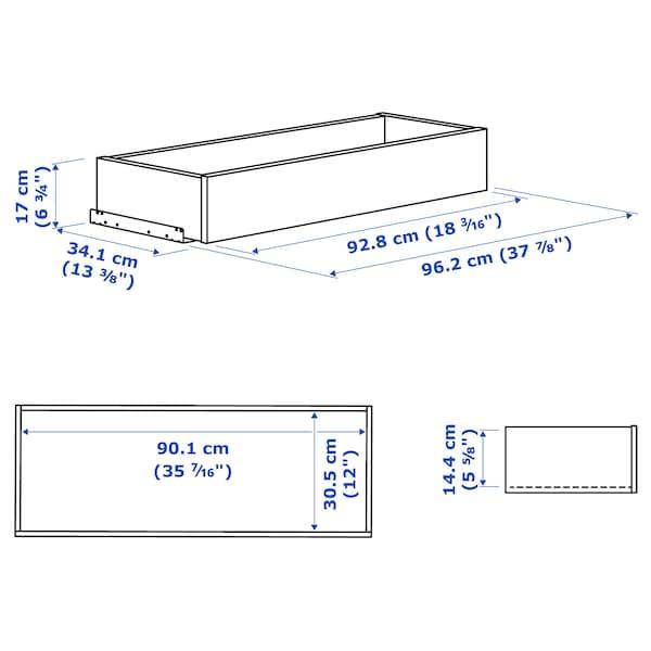 KOMPLEMENT Cassetto/frontale vetro con cornice, marrone-nero, 100x35 cm