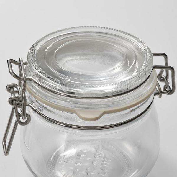 KORKEN Contenitore con coperchio, vetro trasparente, 13 cl