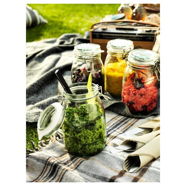 KORKEN contenitore con coperchio vetro trasparente 16.5 cm 12 cm 1 l