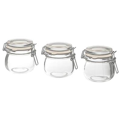 KORKEN contenitore con coperchio vetro trasparente 7 cm 7 cm 13 cl 3 pezzi