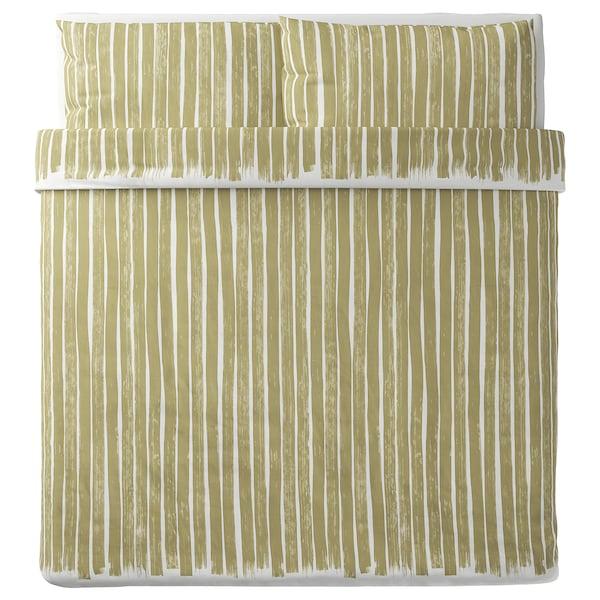 KRANSRAMS Copripiumino e 2 federe, bianco/verde, 240x220/50x80 cm