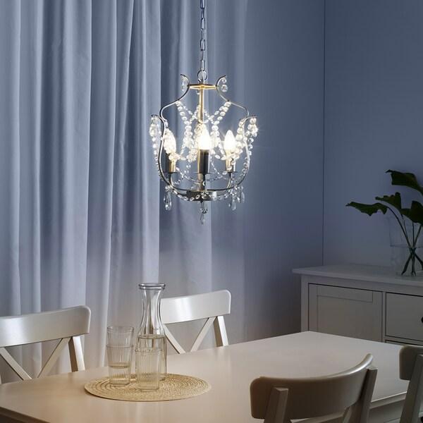 KRISTALLER lampadario, 3 bracci color argento/vetro 40 W 1.72 m 32 cm
