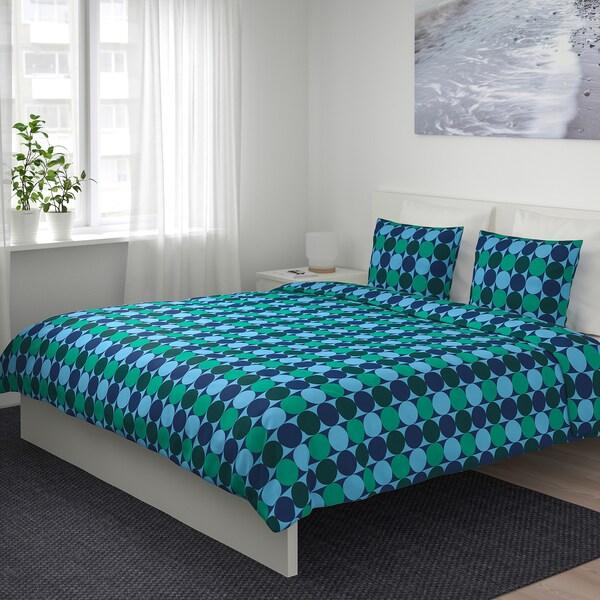Copripiumino Bottega Verde.Krokuslilja Copripiumino E 2 Federe Blu Verde 240x220 50x80 Cm