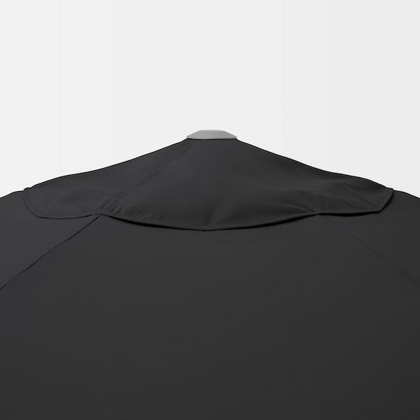 KUGGÖ / VÅRHOLMEN Ombrellone con base, grigio grigio scuro/Huvön grigio scuro, 300 cm