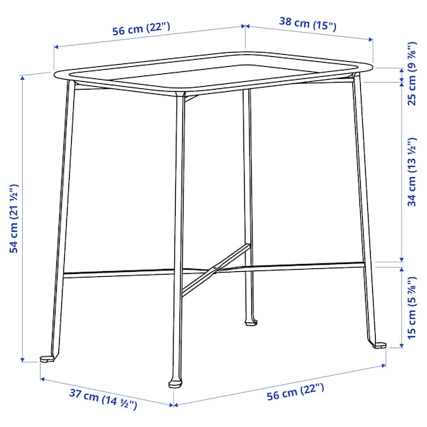 KUNGSHATT Tavolino vassoio da interno/esterno, grigio scuro/grigio, 56x36 cm
