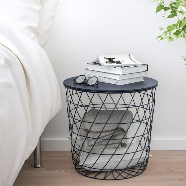 KVISTBRO tavolino/contenitore blu scuro 42 cm 44 cm