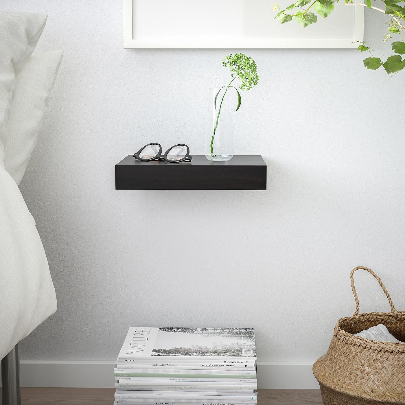 Mensole In Legno Ikea lack mensola - marrone-nero 30x26 cm