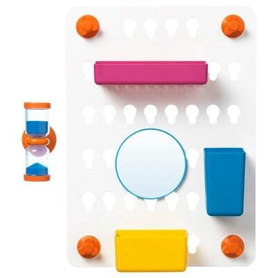 LÅDDAN Pannello con contenitori, 6 pezzi, con ventose/colori vari