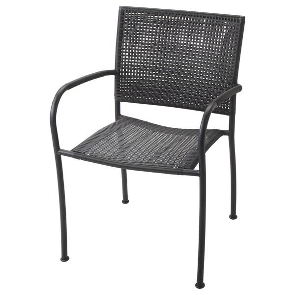 Sedie Giardino Plastica Ikea.Lacko Sedia Con Braccioli Da Giardino Grigio Ikea