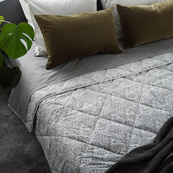 LÅGBJÖRK Piumino tiepido, grigio scuro/bianco, 240x220 cm