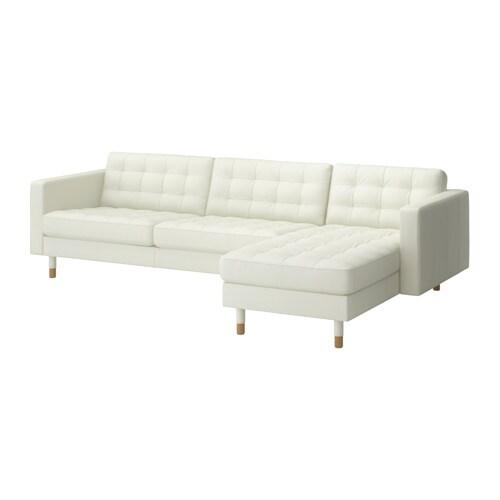 Landskrona divano a 3 posti e chaise longue grann bomstad bianco legno ikea - Ikea divano chaise longue ...