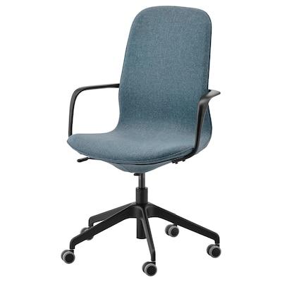 LÅNGFJÄLL sedia da ufficio con braccioli Gunnared blu/nero 110 kg 68 cm 68 cm 104 cm 53 cm 41 cm 43 cm 53 cm
