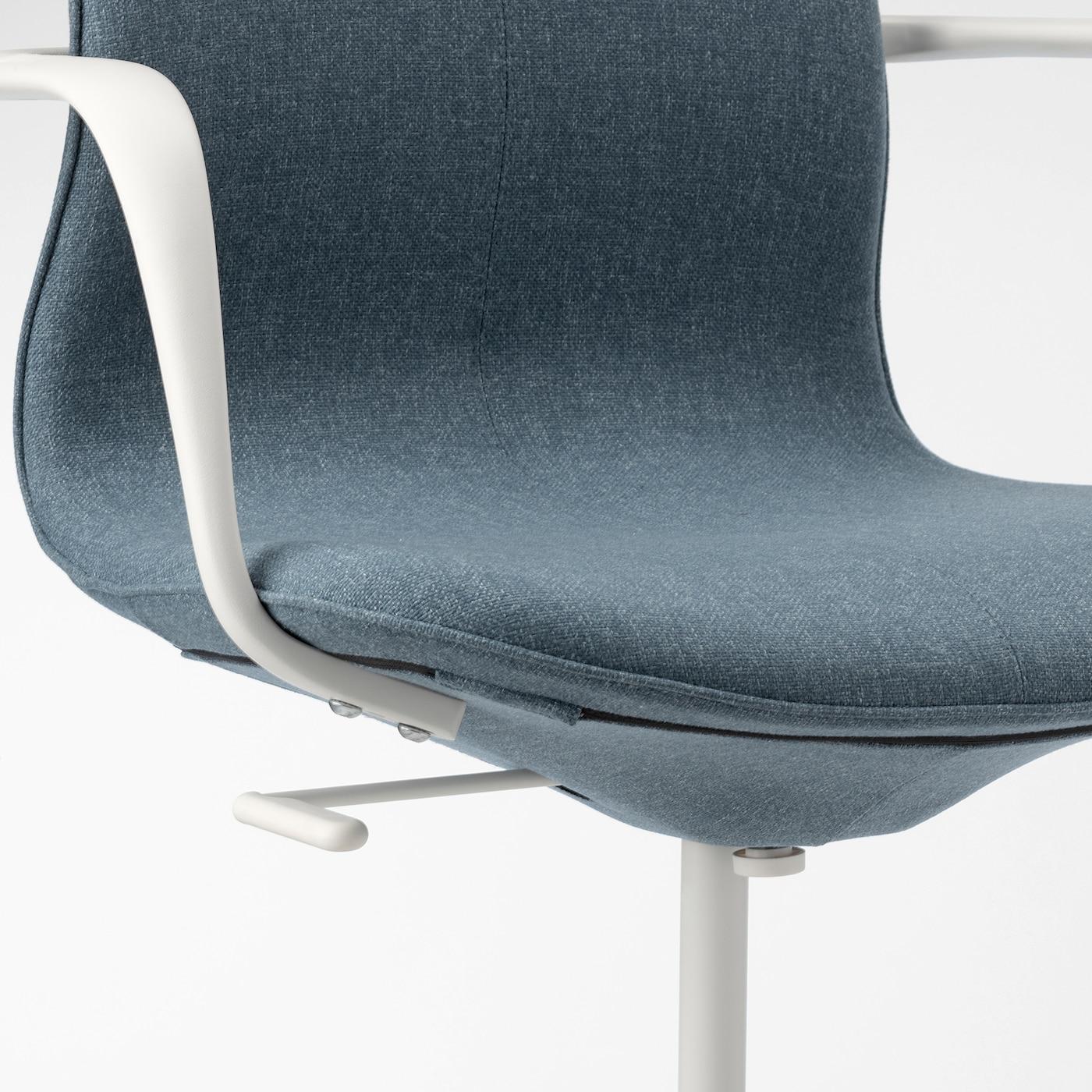 LÅNGFJÄLL Sedia da ufficio con braccioli Gunnared blu, bianco