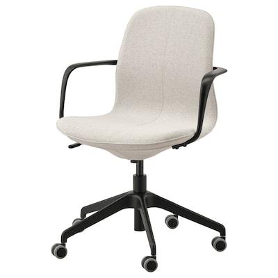 LÅNGFJÄLL Sedia da ufficio con braccioli, Gunnared beige/nero