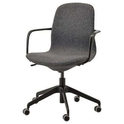 LÅNGFJÄLL Sedia da ufficio con braccioli, Gunnared grigio scuro/nero