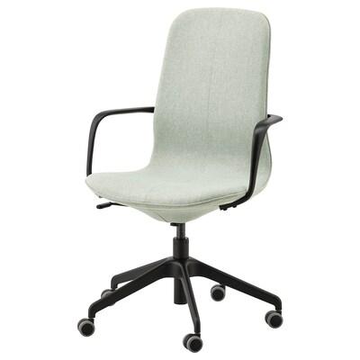 LÅNGFJÄLL Sedia da ufficio con braccioli, Gunnared verde chiaro/nero