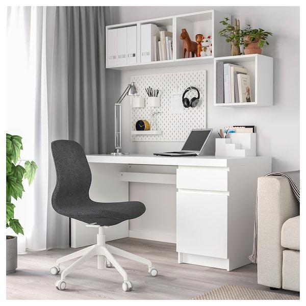 LÅNGFJÄLL Sedia da ufficio, Gunnared grigio scuro/bianco