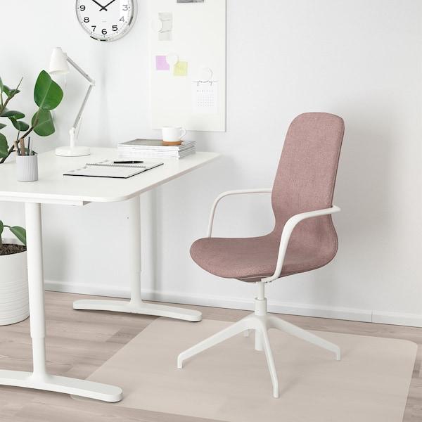 LÅNGFJÄLL Sedia riunioni con braccioli, Gunnared marrone chiaro-rosa/bianco