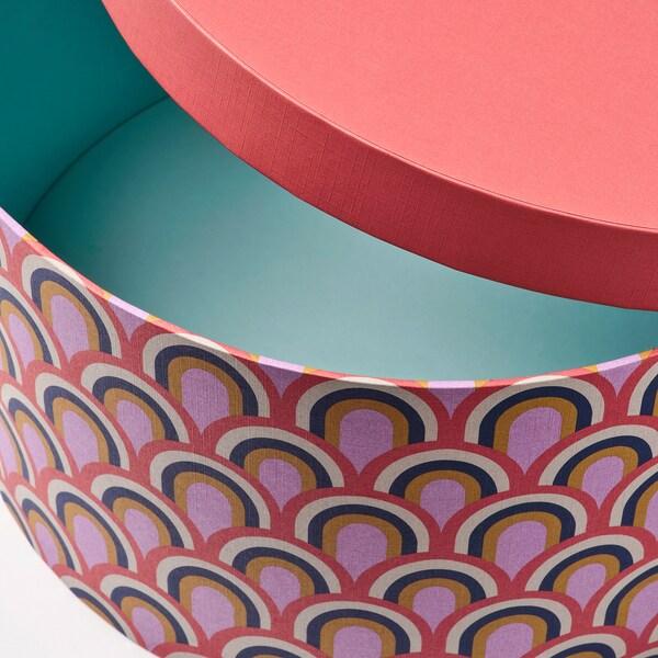 LANKMOJ Set di 3 scatole con coperchio, multicolore/carta