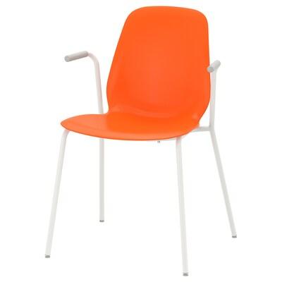 LEIFARNE Sedia con braccioli, arancione/Dietmar bianco