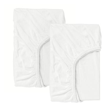 LEN Lenzuolo con angoli per lettino, bianco, 60x120 cm