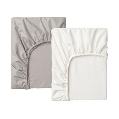 LENAST Lenzuolo con angoli per lettino, bianco/grigio, 60x120 cm