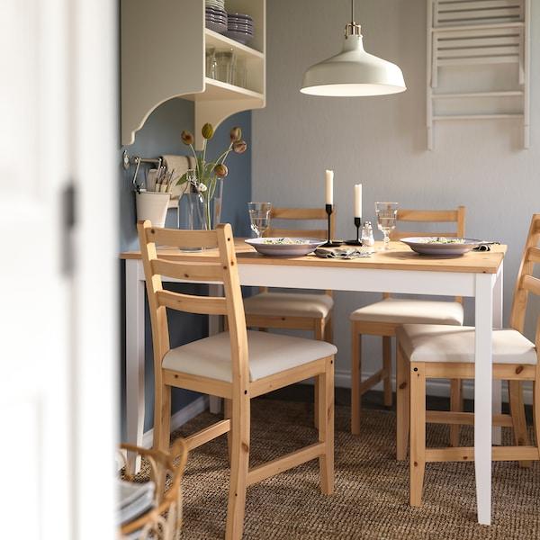 LERHAMN Tavolo e 4 sedie, mordente anticato chiaro mordente bianco/Vittaryd beige, 118x74 cm