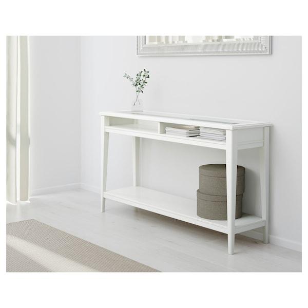 LIATORP Tavolo consolle, bianco/vetro, 133x37 cm