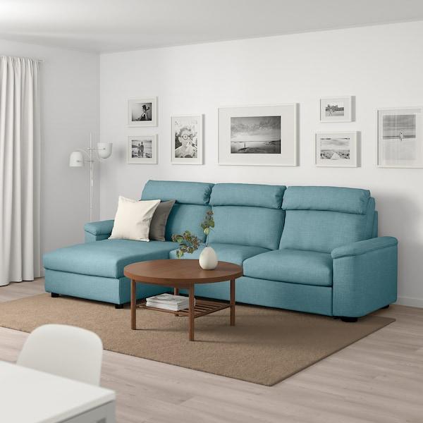 Divano letto a 3 posti LIDHULT con chaise-longue, Gassebol blu/grigio