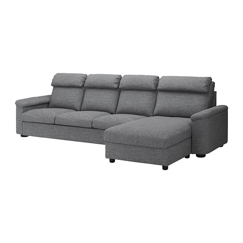 Lidhult divano a 4 posti con chaise longue lejde grigio nero ikea - Divano chaise longue ikea ...