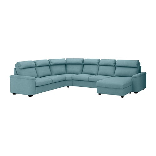 Divano Angolare Ikea Tessuto.Lidhult Divano Angolare A 6 Posti Con Chaise Longue Gassebol Blu Grigio